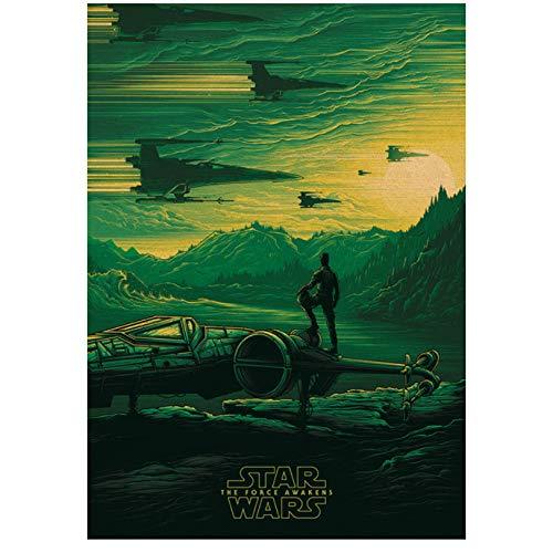 Retro Poster , Star Wars Serie Filmplakate Kraft Wandaufkleber Poster Schwarz Krieger Poster Vintage Wandaufkleber 42X30Cm