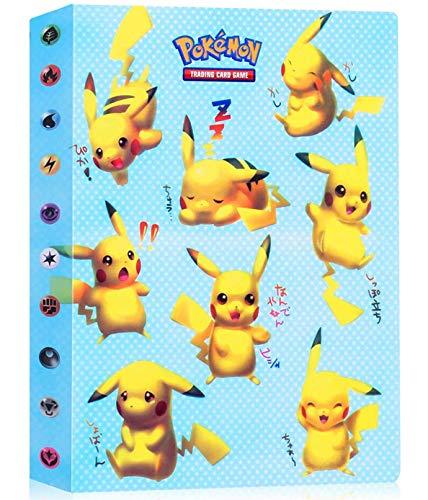 Álbumes Compatible con Cartas Pokemon, Carpeta Compatible con Cartas de Pokémon, Álbum Titular Compatible con Cartas Pokémon, 30 páginas con capacidad para 240 cartas (PIKAQIU)