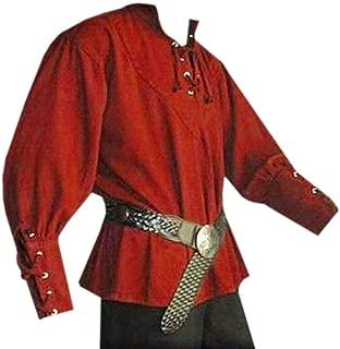 Beotyshow Mens MedievalRenaissance Shirt VikingPirate Shirts Adult Steampunk Cosplay Costume