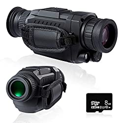 Pinty Infrared Night Vision Monocular 35mm Monocular Sight with 5X Optical 8X Digital Magnification IR Camera w MicroSD Card to Save Photos and Videos for Hunting Surveillance More