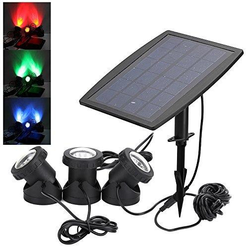 Bw éclairage solaire – 1800 mAh batterie, Rouge Vert Bleu LED, 160 Lumen, IP68, 50000 heures Vie