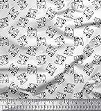 Soimoi Weiß Baumwoll-Voile Stoff Mops Hund Stoff Meterware