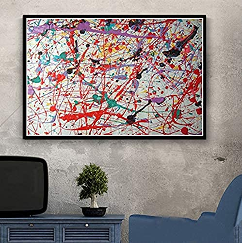 LIANGX Jackson Pollock - Cuadro de pared en alta definición sin marco, decoración de póster e impresiones sobre lienzo para salón, decoración del hogar (80 x 120 cm)
