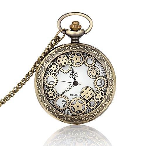 Hrph Collar reloj retro diseño hueco del engranaje de reloj de bolsillo de la vendimia de bolsillo del bronce de cadena