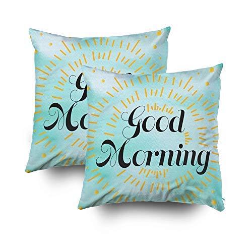 Funda de Almohada Estándar 2PCS Cuadrada para cojín Hogar Decorativo Mensaje de Buenos días Fondo Azul Sol Amarillo Fundas de Almohada Impresas con Ambos Lados de algodón
