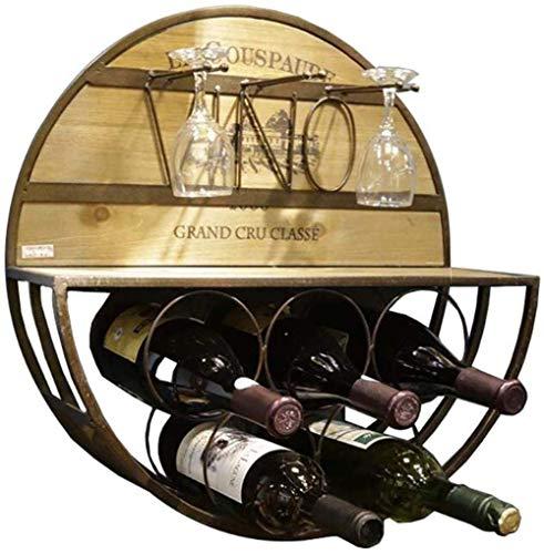 LYLSXY Botelleros Redondos de Hierro Multifuncional para Montar en la Pared, con Capacidad para 5 Botellas de Alenamiento de Vino Tinto