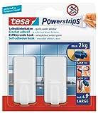 tesa Powerstrips Haken Large CLASSIC - Selbstklebender Wandhaken für Glas, Kacheln, Holz, Kunststoff und andere Untergründe - Weiß