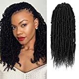6 Packs Bomb Twist Crochet Hair Pre looped 14inch Synthetic Kinky Curly Spring Twist Hair Pre-twisted Crochet Braids Passion Twist Mini Twist Hair for Women Hair Extensions By Beyond Beauty(1B#) …