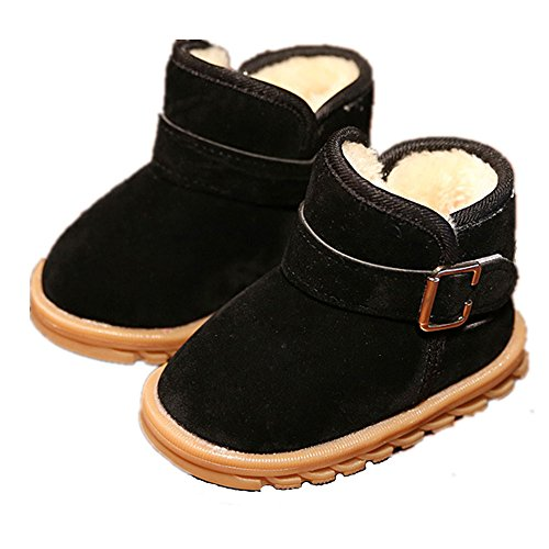 """EsTong Toddler Baby Boy Girl Thick Winter Outdoor Snow Boots Anti-Slip Fur Lined Booties Black 21:12-18Months/5.1"""""""