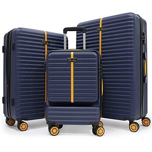 BlissTrip Espandibile Bagaglio a Mano Valigia Trolley rigido e robusto con rotelle girevoli,Set in tre pezzi,57,65.5,78cm,Blu