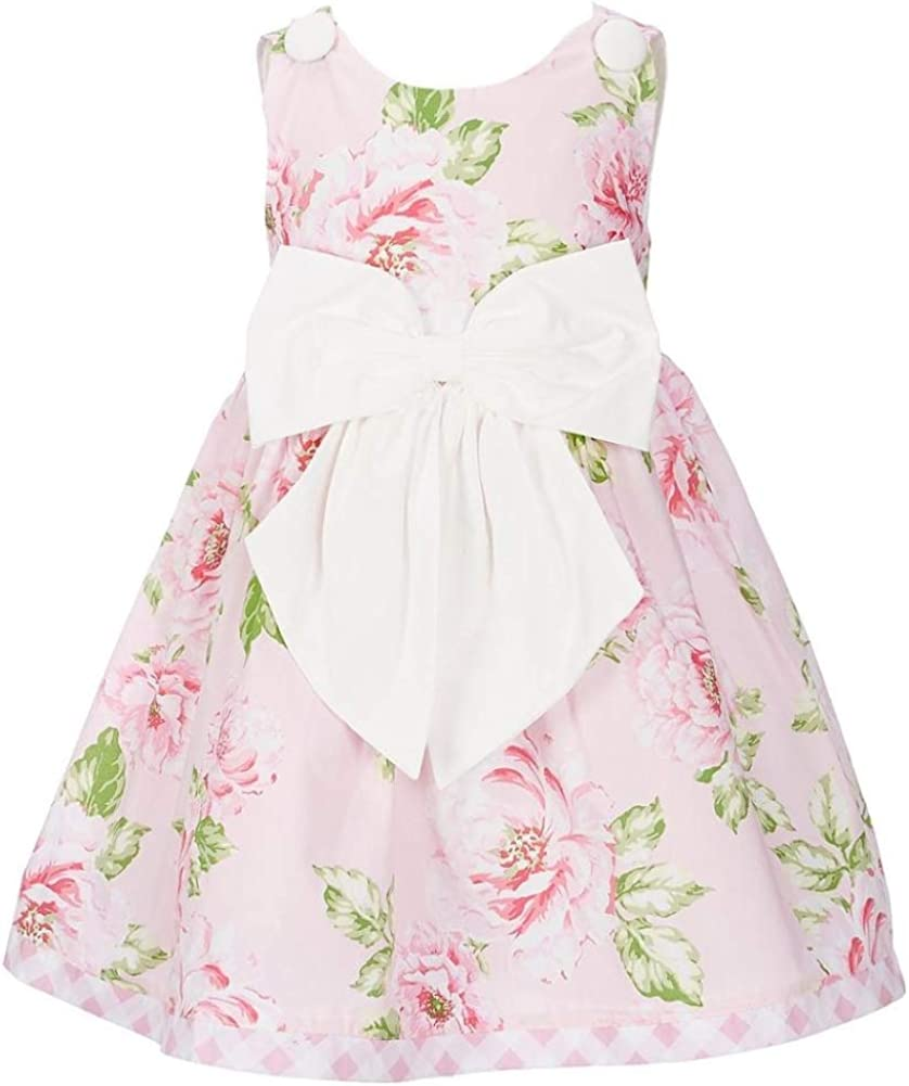 Rare Editions Girls Size 2T-6X Pink Poplin Roses White Bow Dress