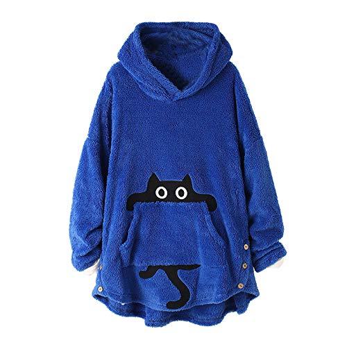 ReooLy Mujeres Tops Botón con Capucha Pullover Suéter Suelto Tallas Grandes Espesar Blusa de Felpa(Azul,XXL)