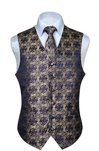 Hisdern Manner Paisley Floral Jacquard Weste & Krawatte und Einstecktuch Weste Anzug Set, Gold- und Marineblau, Gr.-4XL (Brust 57 Zoll)