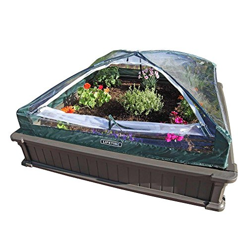 Lifetime 60053 Raised Garden Bed Kit 2 Beds and 1 Early Start Vinyl Enclosure