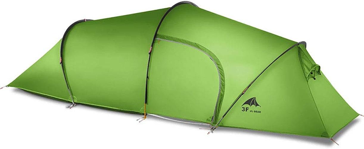 XBR Tente de Camping Tunnel de Camping avec 1 Chambres et 1 Un Hall Tente Tunnel 100% Imperméable 2-3 Personnes Equipement du Camping(Vert)