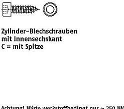 Zyl.plaatschroeven ART 88312 cilinderplaatschroef A 2 5,5 x 45 -C, kop DIN 912 A 2 VE=S 250 stuks