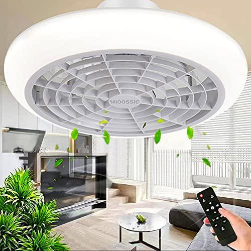 Deckenventilator Mit Beleuchtung LED Licht Einstellbare Windgeschwindigkeit Dimmbar Mit Fernbedienung Moderne LED Deckenleuchte Für Schlafzimmer Wohnzimmer Esszimmer Weiß