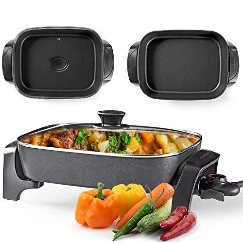 NEDIS by STELER - XXL Elektropfanne 2200W, elektrische Pfanne mit Deckel, Paella Multi Pfanne mit Thermostat, Pizzapfanne