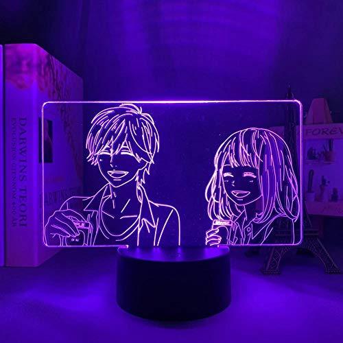 Lámpara de escritorio LED 3D naranja ilusión ilusión lámpara de escritorio anime japonesa, luz para niños, dormitorio, decoración, regalo de cumpleaños, manga Gadget