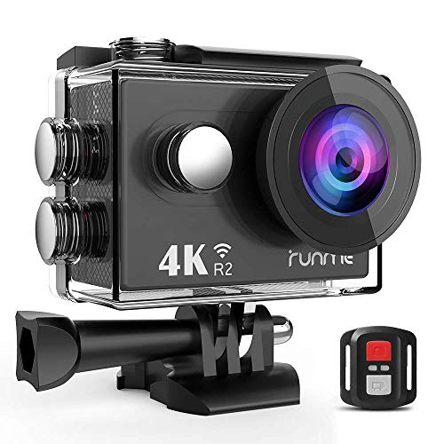 RUNME R2 Sports Action Camera Ultra HD Waterproof Camcorder 12MP Wi-Fi Camera 170-Degree Wide-Angle 2.4G Remote Control Plus 1050mAh Rechargeable Battery