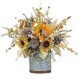 Qagazine Cesto de flores artificiales para otoño con diseño de...
