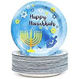 Happy Hanukkah Disposable Paper Party Plates (Blue and Gold, 9 in, 80 Count)