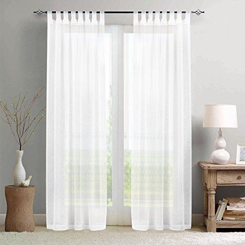 TOPICK Sheer Vorhang mit Schlaufen Stangenbezug Schlaufenschal Transparent Gardinen Fensterschal Vorhänge Wohnzimmer Schlafzimmer 245 x 140 cm(H x B) 2er Set Weiß