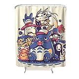 CATNEZA Duschvorhang Anime Printed Waschbar Shower Curtain 150x200cm Badewannenvorhang mit lebendigen Farben White 120x200cm