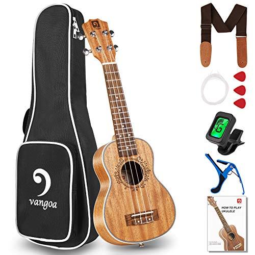 Vangoa Soprano Ukelele 21 Pulgadas Caoba Acústico Hawaiian Ukulele Kit para Principiantes, Estudiante, Intermedio