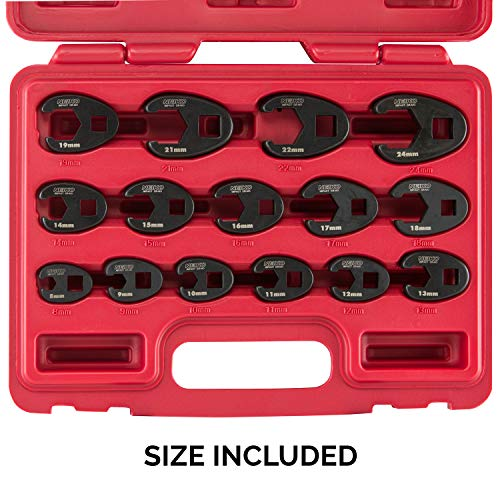 Neiko 03324A 3/8-Inch and 1/2-Inch Drive Crowfoot Flare Nut Wrench Set, Metric, 8mm to 24mm | 15-Piece Set, Cr-Mo Steel