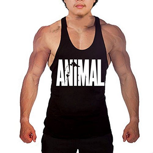 waylongplus Mens Animal Letter Print Fitness Gym Stringer Tank Tops for Bodybuilding Muscle Workout