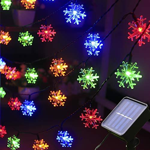 Xingpold Solar Christmas Snowflake String Lights Outdoor Waterproof Solar Powered Christmas Fairy Lights 30ft 50 LED 8 Modes Solar Snowflake Lights for Christmas Tree Garden Patio Decor (Multicolor)