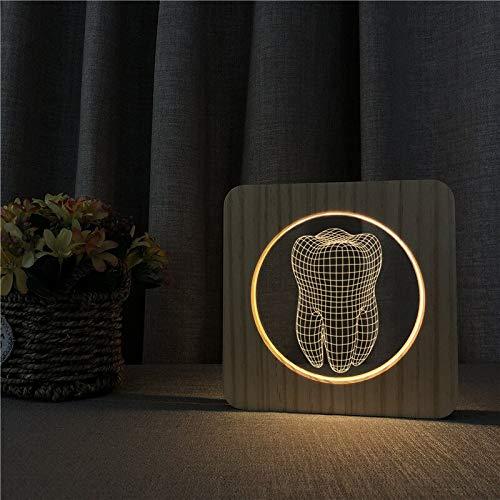 Diseño de diente USB Arylic ABS 3D LED Luz de noche Lámpara de mesa Mesita de noche Decoración Regalo de niños