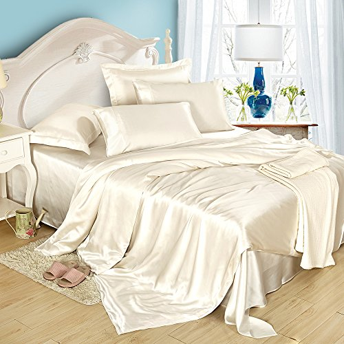 LilySilk Pure Grade 6A Mulberry Silk Bedding Sheets 6pcs Duvet Cover Fitted Sheet Deep Pillowcases Set 19 Momme Double Ivory