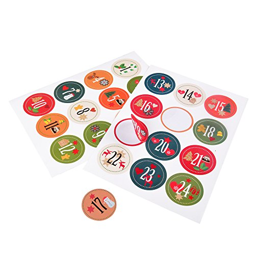East-west Trading GmbH Adesivi per lAvvento 2x24, per creare un calendario dellAvvento, bellissimi motivi natalizi, diametro 40 mm ciascuno
