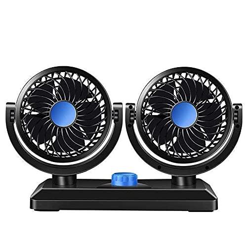 Ventilador para coche, 12 V, doble cabeza, giratorio 360 grados, ventilador de...