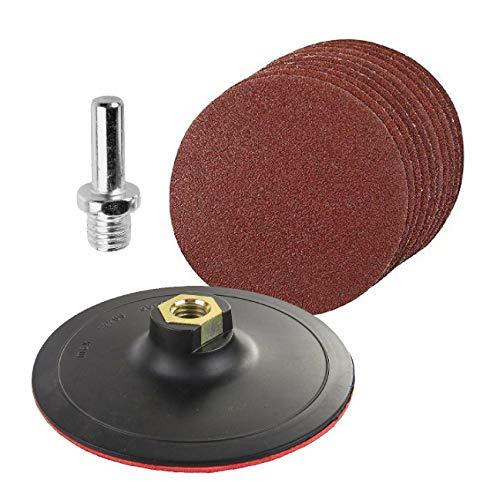 LINMAN 10 PCS 125 mm Papel de Lija Forma Redonda Discos Lijado Gancho Bucle con el Adaptador de Taladro de Soporte para Herramientas de Limpieza de Pulido (Grit : 10PCS)