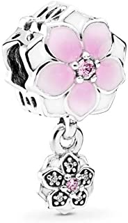 Magnolia Bloom Charm, Sterling Silver, Pale Cerise Enamel, Pink & Clear Cubic Zirconia, One Size