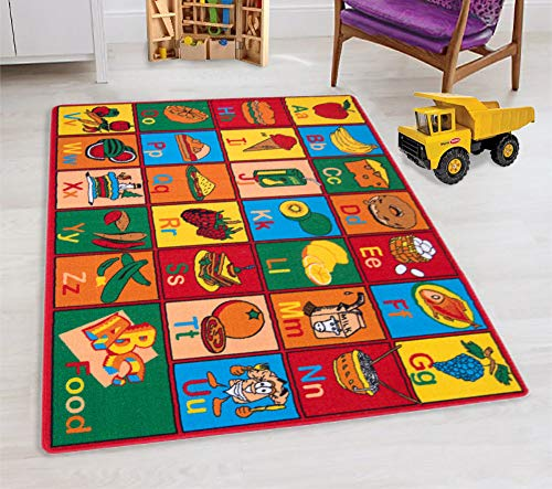 Handcraft Rugs-Kids Educational/Playtime Rugs Alphabet Food and Fruits Puzzle Multi Color 8 ft. by 10 ft.(ABC Fruits)