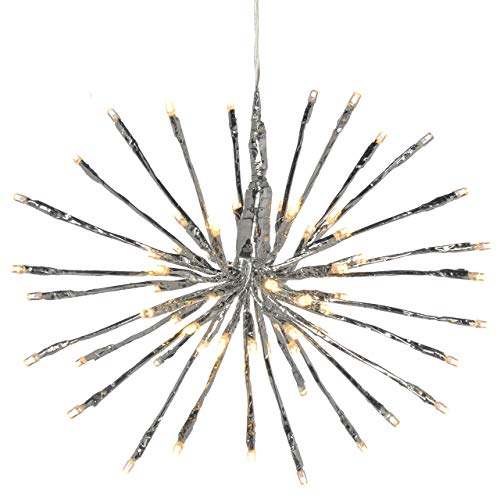 WeRChristmas Pre-Lit Flashing Silver 3D Star Ball Light with 64-LED, 30 cm - Warm White