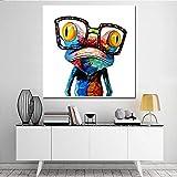 wZUN Lienzos de Cuadros, murales Abstractos de Animales y Ranas para Salas de Estar y Habitaciones Infantiles 60x60 Sin Marco