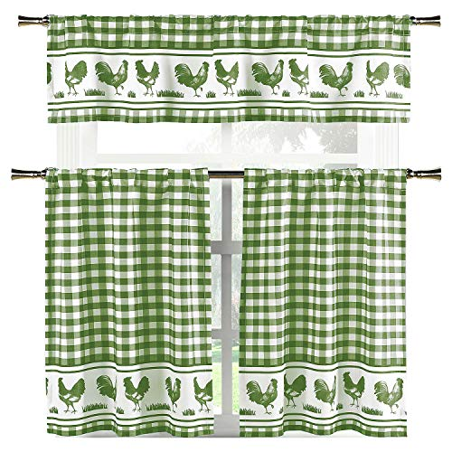 Elegant Linens Country Home Plaid Buffalo Check Gingham Farmhouse Rooster Kitchen Curtain Tier & Valance Set - Assorted Colors (Sage)