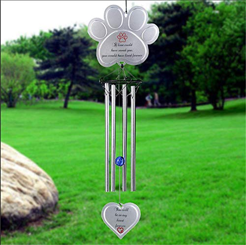"""BJB Dog Pet Memorial Wind Chimes Gifts Outdoor or Indoor, Aluminum Pet Wind Chimes for Garden Patio Backyard, Sympathy Gift for a Grieving Pet Owner,18.9"""""""