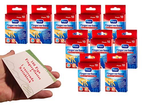 varivendo 100 Stück Figo Fingerverband Fingerpflaster Finger Pflaster elastisch 12 x 2 cm (100 Pflaster + 1 Notizblock)
