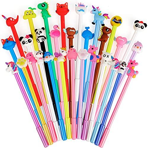 Yuechen 30x Bolígrafos Lindos de Tinta de Gel de Dibujos Animados, Pluma gel Animales,niños Infantiles Fiesta Regalo cumpleaños Navidad Bautizo comunión premios Escolares