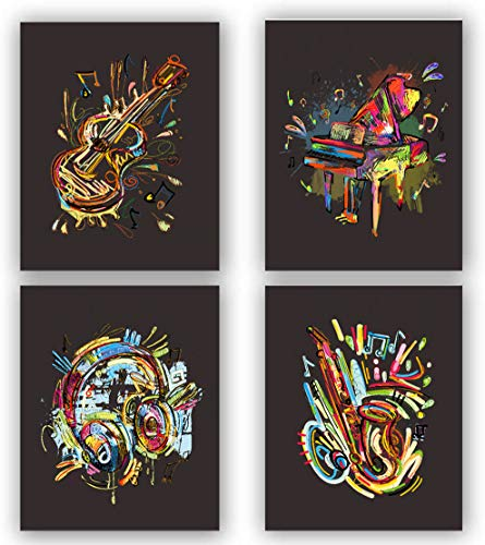 """Watercolor Musical Instrument Art Prints, Headphones Pictures For Wall Decor,4 Sets Music Prints, Piano, Violin, Saxophone, Headphones, Musical Note Canvas Posters Are a Good Choice For music Room And Home Decoration.Unframed,8""""X10""""inches)."""