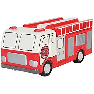 Detailed Big Red Hand-painted Ceramic Fireman Rescue Fire Truck Cookie Jar