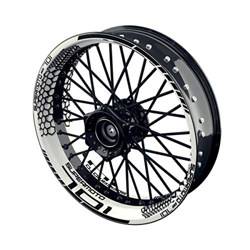 OneWheel Felgenaufkleber Motorrad passend für Supermoto Husqvarna 701 Design 6 | 17 Zoll | Vorder- und Hinterrad inkl. Farbiger Spokes (schwarz)