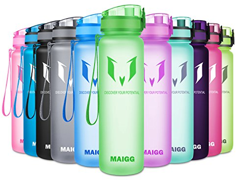 MAIGG Best Sports Water Bottle - 17oz - Eco Friendly & BPA-Free Plastic - Fast Water Flow, Flip Top, Opens With 1-Click - Reusable with Leak-proof Lid (Green)