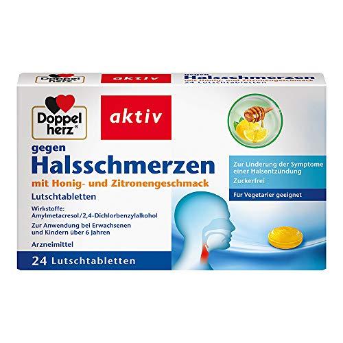 Doppelherz gegen Halsschmerzen – Arzneimittel gegen Halsschmerzen bei Entzündungen im Rachen - Mit Honig- und Zitronengeschmack – 24 Lutschtabletten